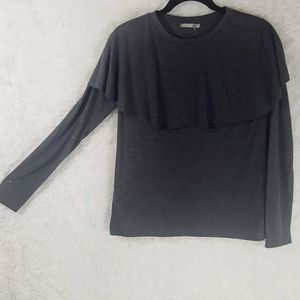 Zara Collection Gray Long Sleeve Blouse Sz M